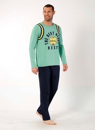 Mia Misenza Pamuklu Likralı Pijama Takım Yeşil